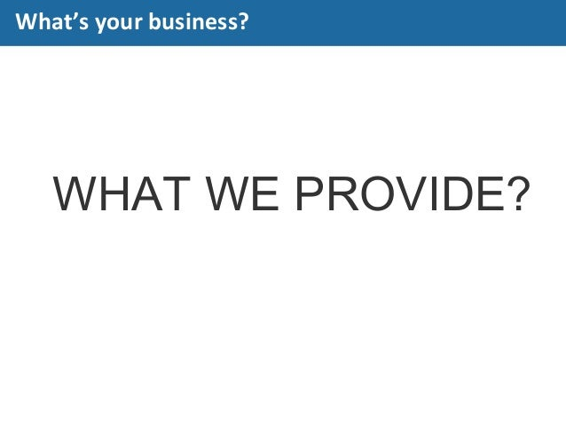 WHAT WE PROVIDE? What's your business?