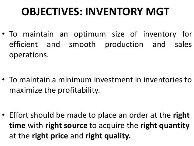 Inventory Management - a ppt for PGDM/MBA