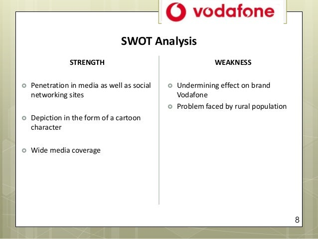 vodafone s strength and weakness Vodafone swot analysis  integration of subsidies under the vodafone umbrella weakness  for life time calls and better network strength compared to other .