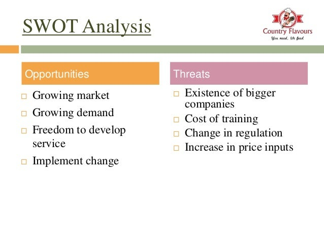 swot analysis of catering service Related articles datamonitor: sodexo sa // sodexho alliance swot analysisapr2011, p1 a company profile of sodexo sa, which is a global service provider of food catering, facilities management, sports events and motivation solutions, is presented.