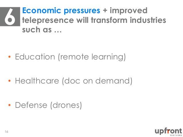 • Education (remote learning) • Healthcare (doc on demand) • Defense (drones) Economic pressures + improved telepresenc...