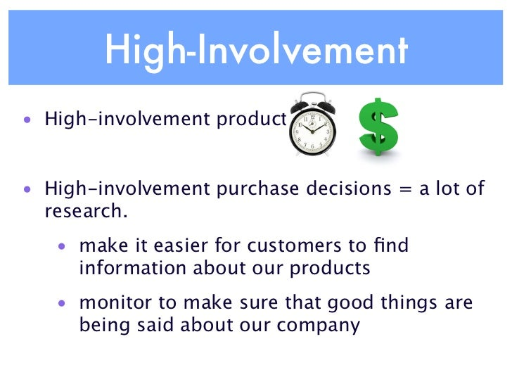 brand and high involvement products High involvement products can cause buyers postpurchase dissonance if they are from mrkt 310 at md university college.