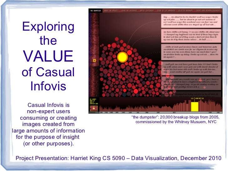 Exploring     the    VALUE   of Casual    Infovis        Casual Infovis is        non-expert users    consuming or creatin...