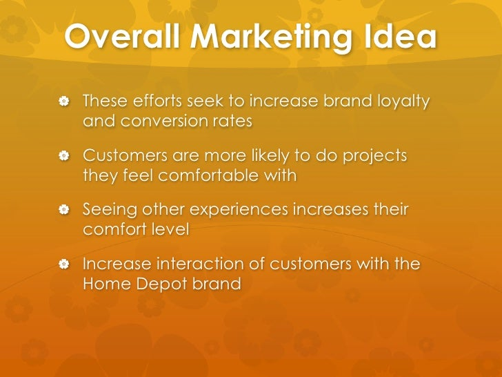 Marketing and Home Depot Sample Essay