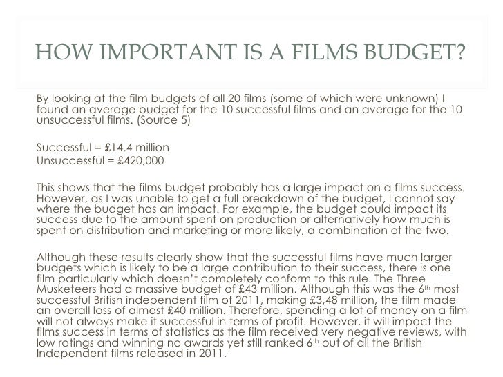 What makes a Successful British Independent Film – Film Budget Example