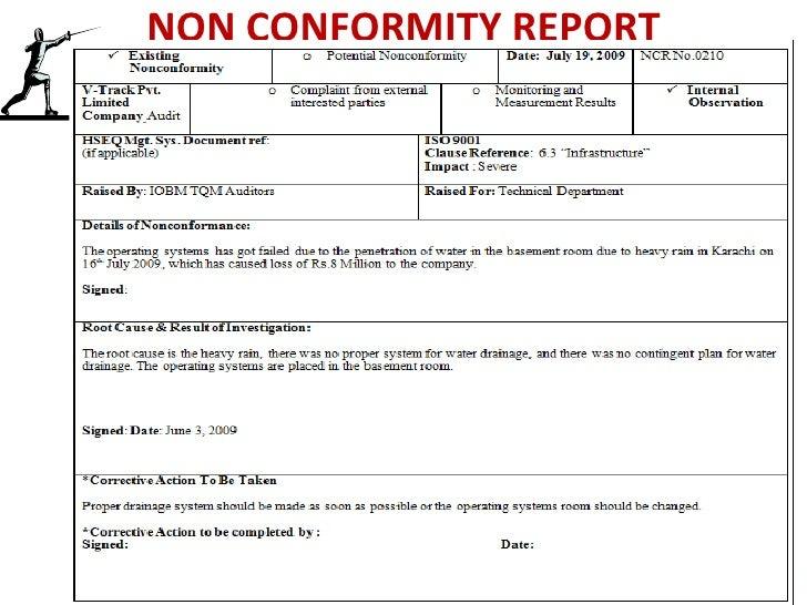 Sample Of Non Conformance Report Corrective Action Form Template Oyle Kalakaari Co