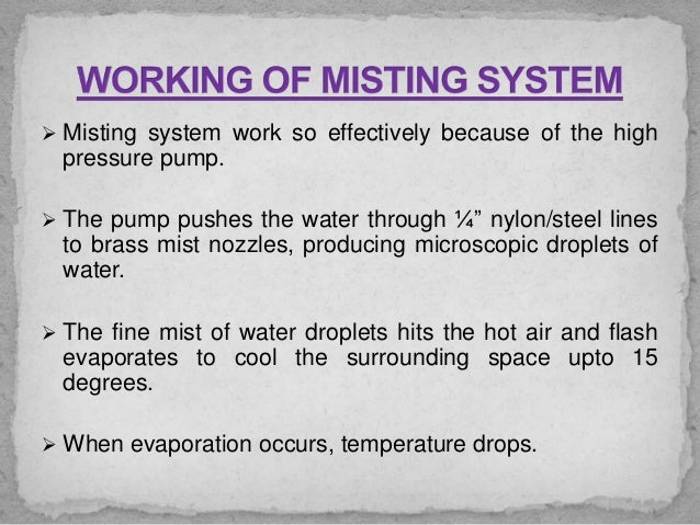 Study And Fabrication Of Outdoor Mist Fog Cooling System