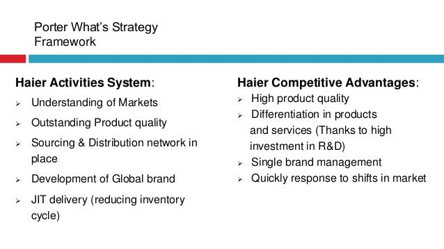 haier strategy Strategies of the haier group (haier, hereafter) of china in comparison  the  recent years, both have been following a strategy of aggressive.