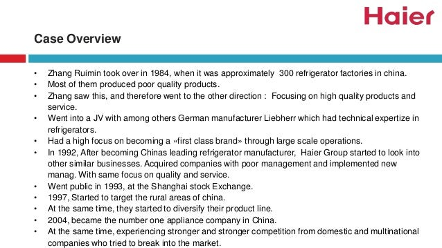 Haier: Taking a Chinese Company Global in 2011 Harvard Case Solution & Analysis