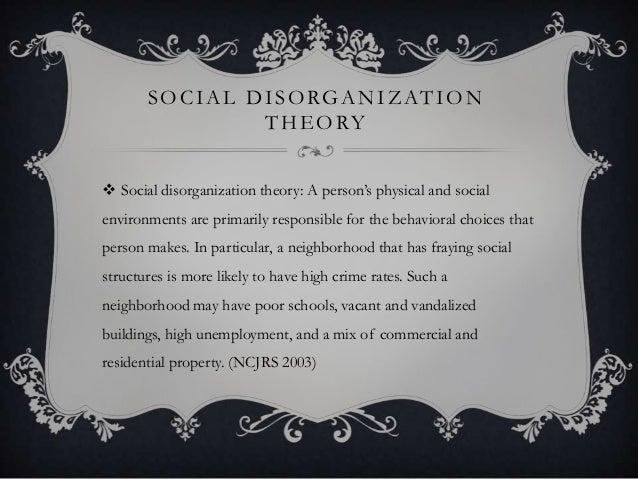 S O C I A L D I S O RG A N I Z AT I O N T H E O RY  Social disorganization theory: A person's physical and social environ...