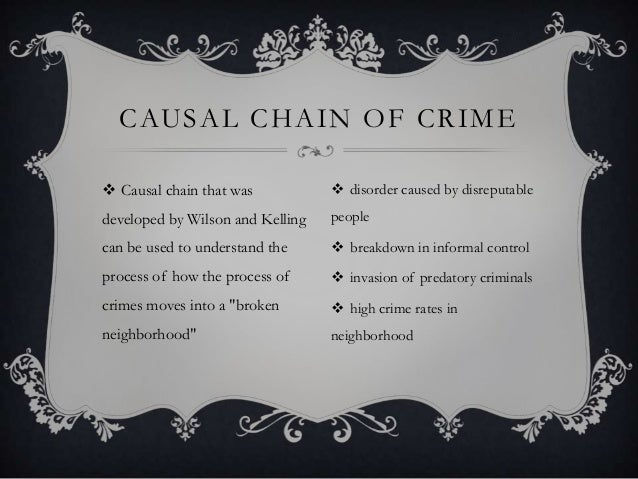 CAUSAL CHAIN OF CRIME  Causal chain that was   disorder caused by disreputable  developed by Wilson and Kelling  people ...