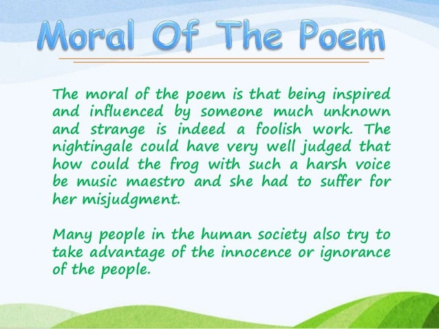 summary of the frog and the nightingale The frog and the nightingale x - download as pdf file (pdf), text file (txt) or read online.