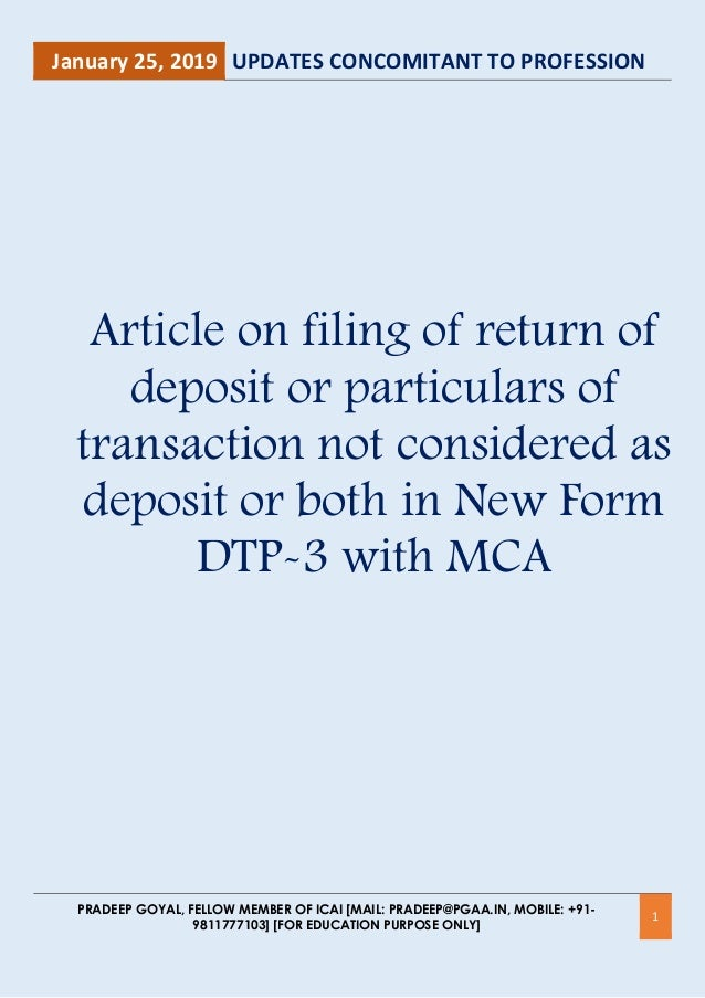 """deposit form mca  All About Filing of New Form DTP-17 """"Return of Deposits"""" with ..."""