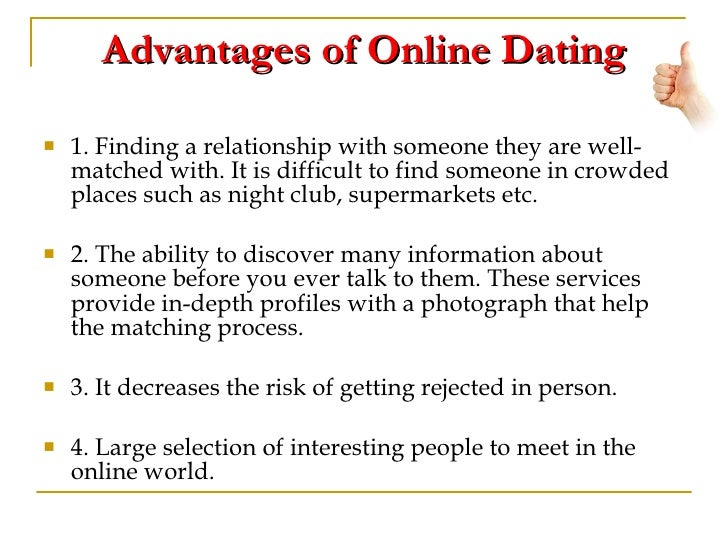 Online dating advantages and disadvantages