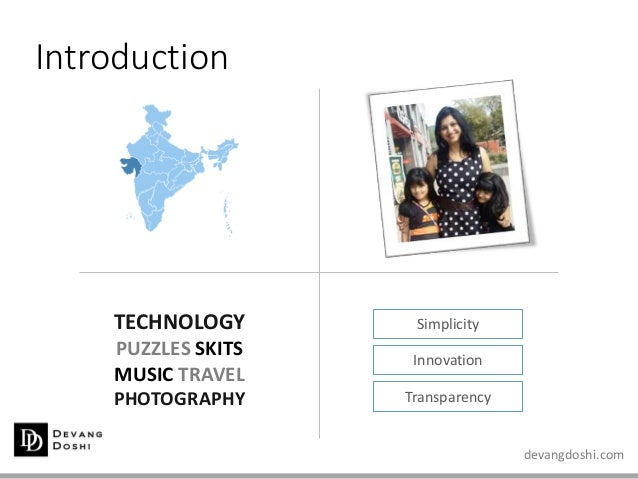 devangdoshi.com Introduction Simplicity Innovation Transparency TECHNOLOGY PUZZLES SKITS MUSIC TRAVEL PHOTOGRAPHY
