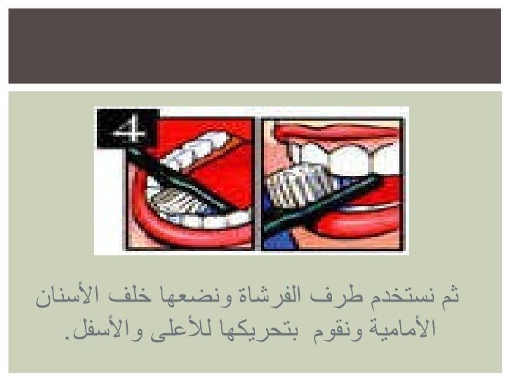 ثم نستخدم طرف الفرشاة ونضعها خلف الأسنان الأمامية ونقوم  بتحريكها للأعلى والأسفل .