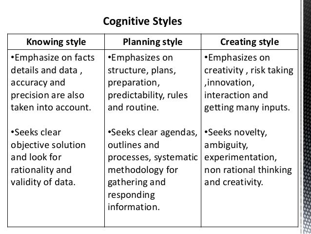 cognitive styles The introductory portion of this document reviews the definitions of cognitive style and presents the models of cognitive style developed by james mckenney, samuel messick, and joseph bill it also discusses the application of these models to education the annotated bibliography is designed as a review of selected.