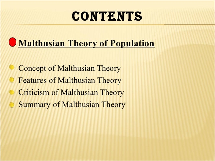 Malthusian theory of population essay