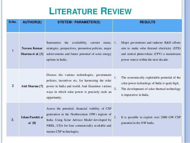 literature review of solar energy
