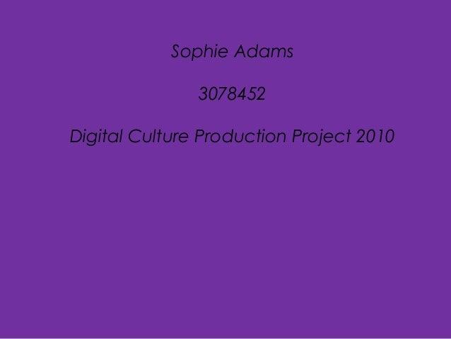 Sophie Adams 3078452 Digital Culture Production Project 2010