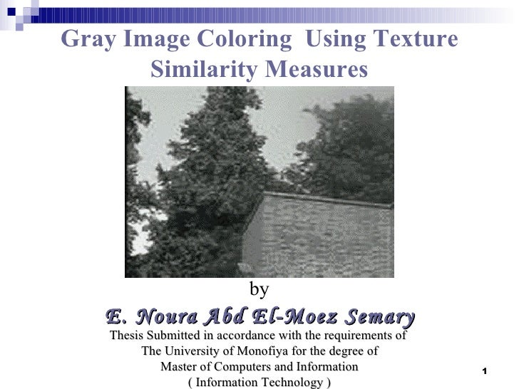 Gray Image Coloring Using Texture       Similarity Measures                             by   E. Noura Abd El-Moez Semary  ...