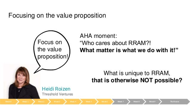 """Focusing on the value proposition AHA moment: """"Who cares about RRAM?! What matter is what we do with it!"""" Heidi Roizen Thr..."""