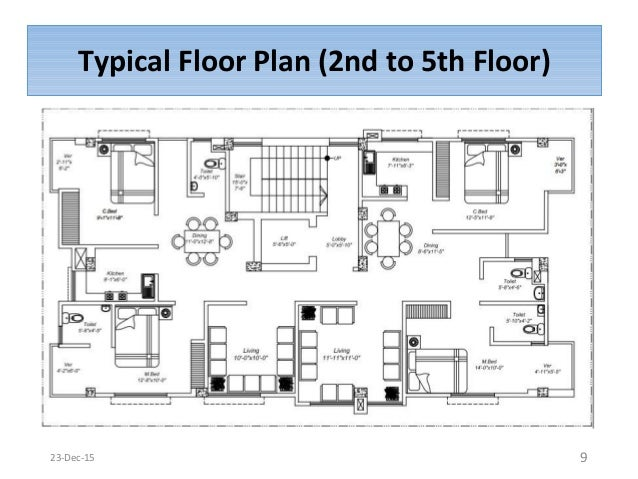 Typical Floor Plan  2nd to 5th Floor  923 Dec 15. Super Structural Construction Work of a Six Storied Residential Build