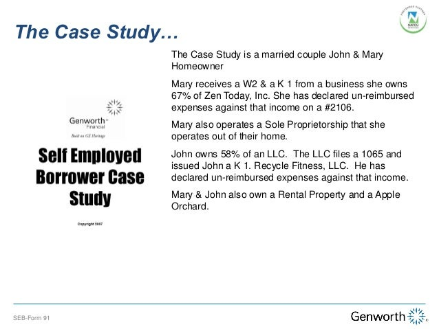 SelfEmployed Borrower Case Study Part I Completing the Form 91 wit – Profit and Loss Statement for Self-employed Homeowners