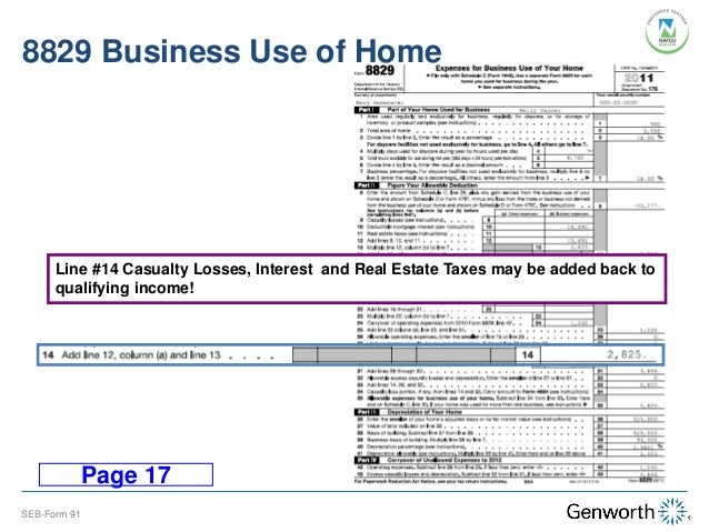 Printables Form 8829 Worksheet self employed borrower case study part i completing the form 91 8829