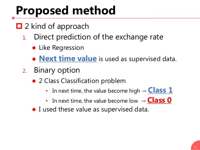 Proposed method  2 kind of approach 1. Direct prediction of the exchange rate  Like Regression  Next time value is used...