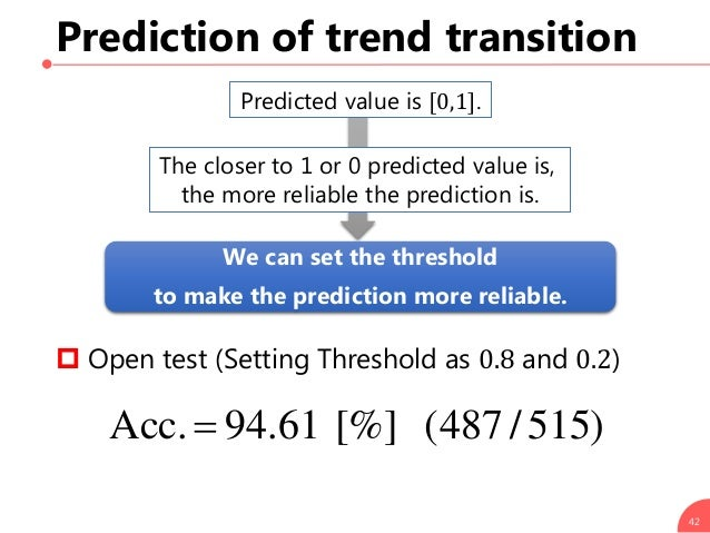 42 Prediction of trend transition Predicted value is [0,1]. The closer to 1 or 0 predicted value is, the more reliable the...