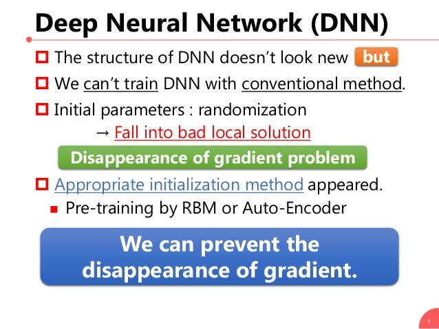 Deep Neural Network (DNN)  The structure of DNN doesn't look new  We can't train DNN with conventional method.  Initial...