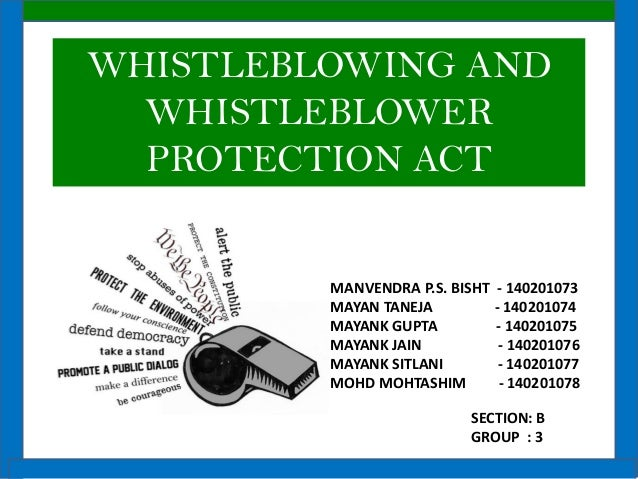 whistle blowing theory and whistleblowers protection 2016-08-18 the position of the whistle-blower in south african law  by   the study at hand has the specific objective of comparing the position of the whistle-  respect of whistle- blowing.