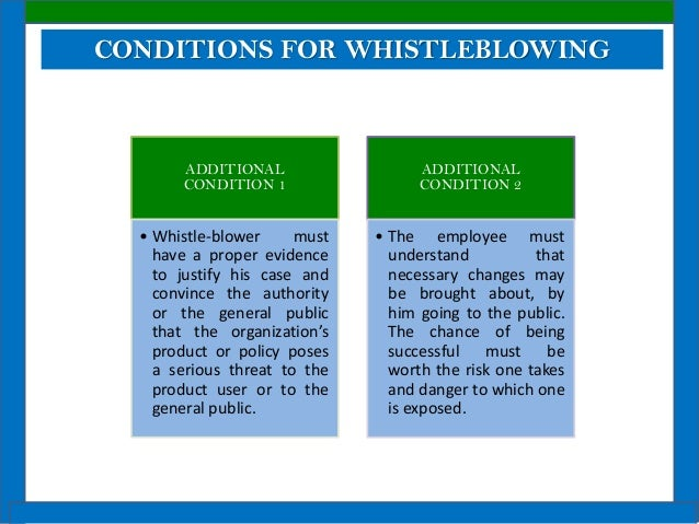 is whistle blowing an act of disloyalty Although, whistleblowing promotes justice and fairness, most employers hold their employees to a certain level of confidentiality, and when an individual blows the whistle, it can appear to be an act of disloyalty.