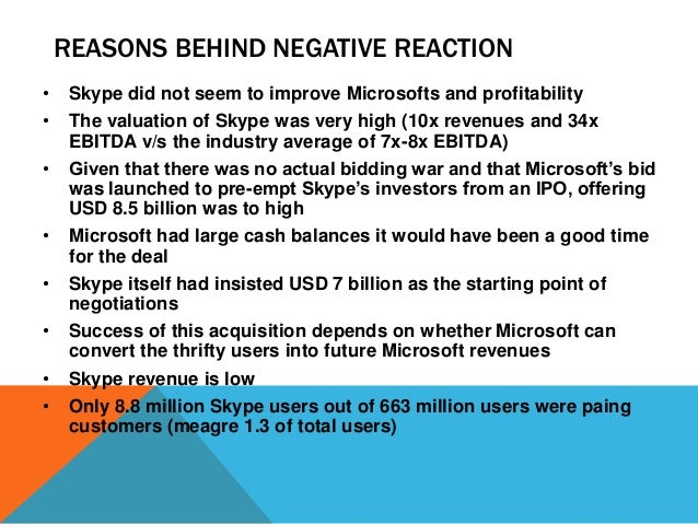 REASONS BEHIND NEGATIVE REACTION •  Skype did not seem to improve Microsofts and profitability  •  The valuation of Skype ...