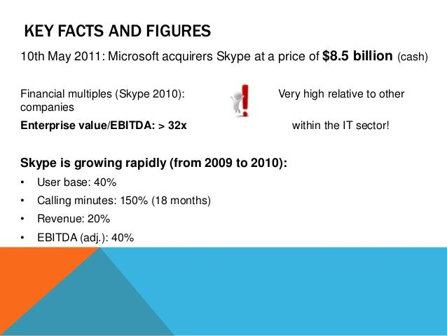 KEY FACTS AND FIGURES 10th May 2011: Microsoft acquirers Skype at a price of $8.5 billion (cash) Financial multiples (Skyp...