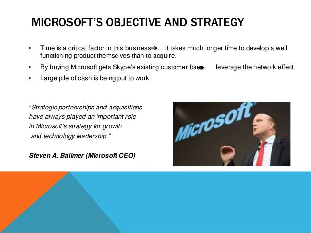 MICROSOFT'S OBJECTIVE AND STRATEGY •  Time is a critical factor in this business it takes much longer time to develop a we...