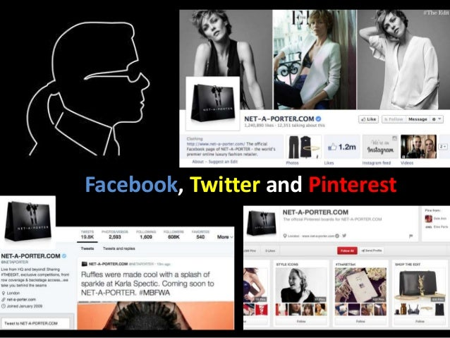 Facebook, Twitter and Pinterest