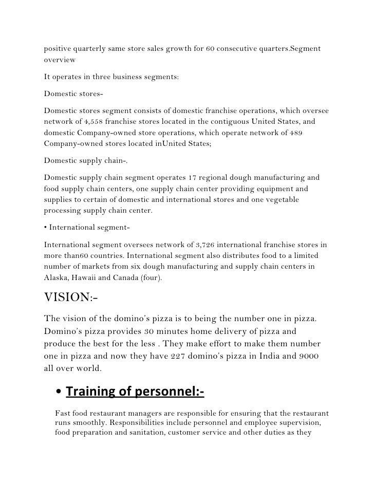 dominos mission statement 2012
