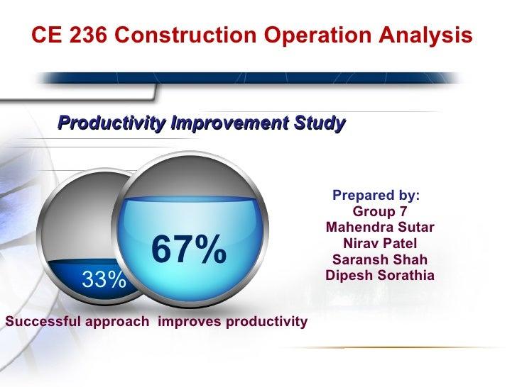 Productivity Improvement Study <ul><li>Prepared by: Group 7 Mahendra Sutar Nirav Patel Saransh Shah Dipesh Sorathia </li><...