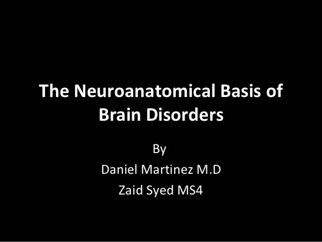 The Neuroanatomical Basis of      Brain Disorders               By       Daniel Martinez M.D         Zaid Syed MS4