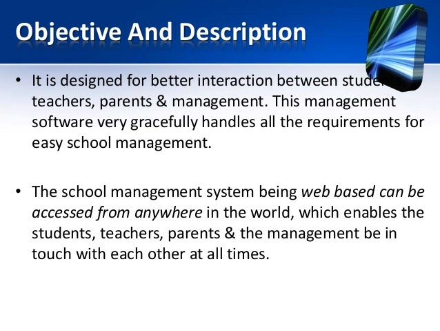 purpose of school management system