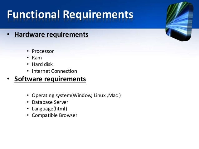 School Management System Ppt - Hardware and software requirements