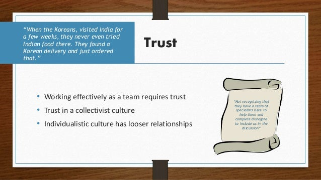 Trust • Working effectively as a team requires trust • Trust in a collectivist culture • Individualistic culture has loose...