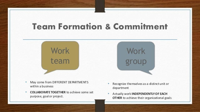 Team Formation & Commitment • Recognize themselves as a distinct unit or department • Actually work INDEPENDENTLY OF EACH ...