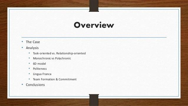 Overview • The Case • Analysis • Task-oriented vs. Relationship-oriented • Monochronic vs Polychronic • 6D model • Politen...