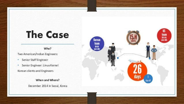 The Case Who? Two American/Indian Engineers: • Senior Staff Engineer • Senior Engineer: Linux Kernel Korean clients and En...