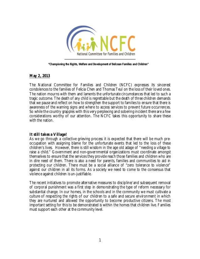 1May 2, 2013The National Committee for Families and Children (NCFC) expresses its sincerestcondolences to the families of ...