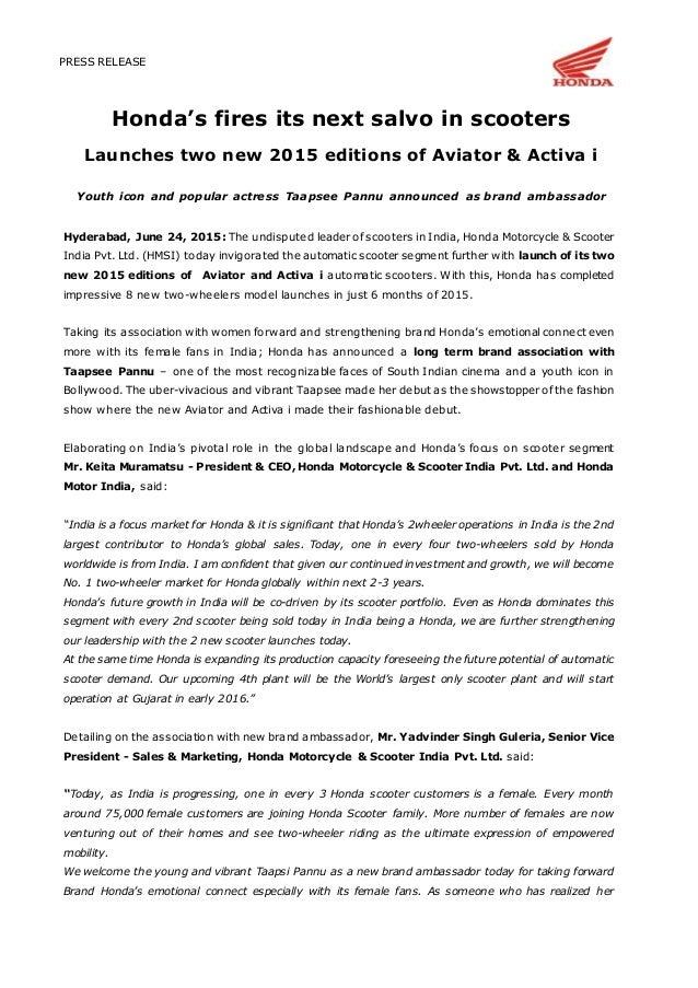 honda aviator  activa  launch press release