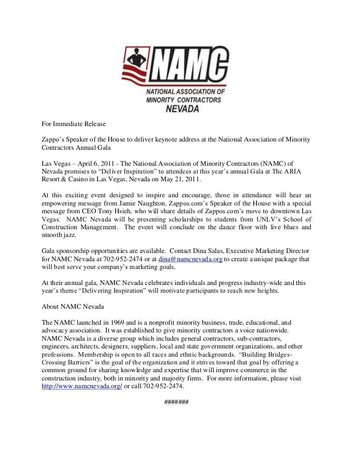 For Immediate Release  <br />Zappo's Speaker of the House to deliver keynote address at the National Association of Minori...